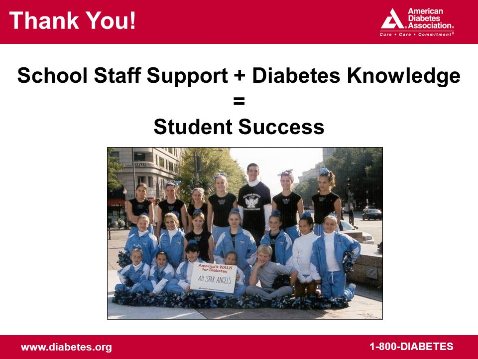School Staff Support + Diabetes Knowledge = Student Success