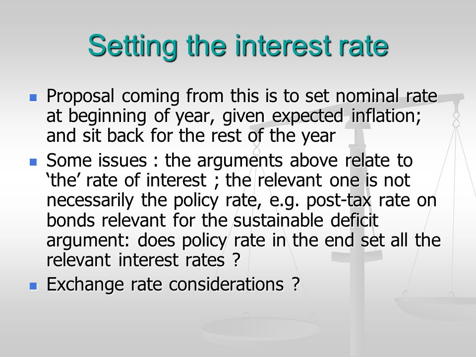 Setting the interest rate