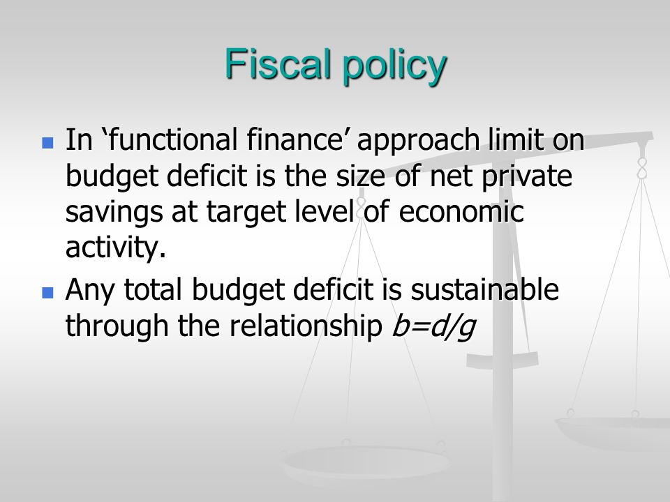Fiscal policy In 'functional finance' approach limit on budget deficit is the size of net private savings at target level of economic activity.