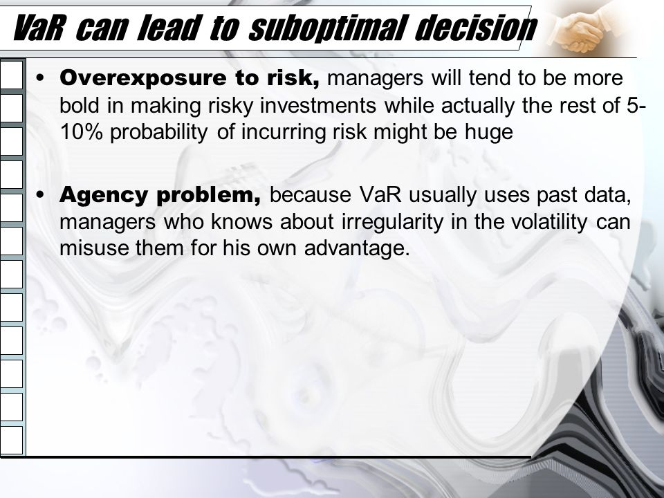 VaR can lead to suboptimal decision