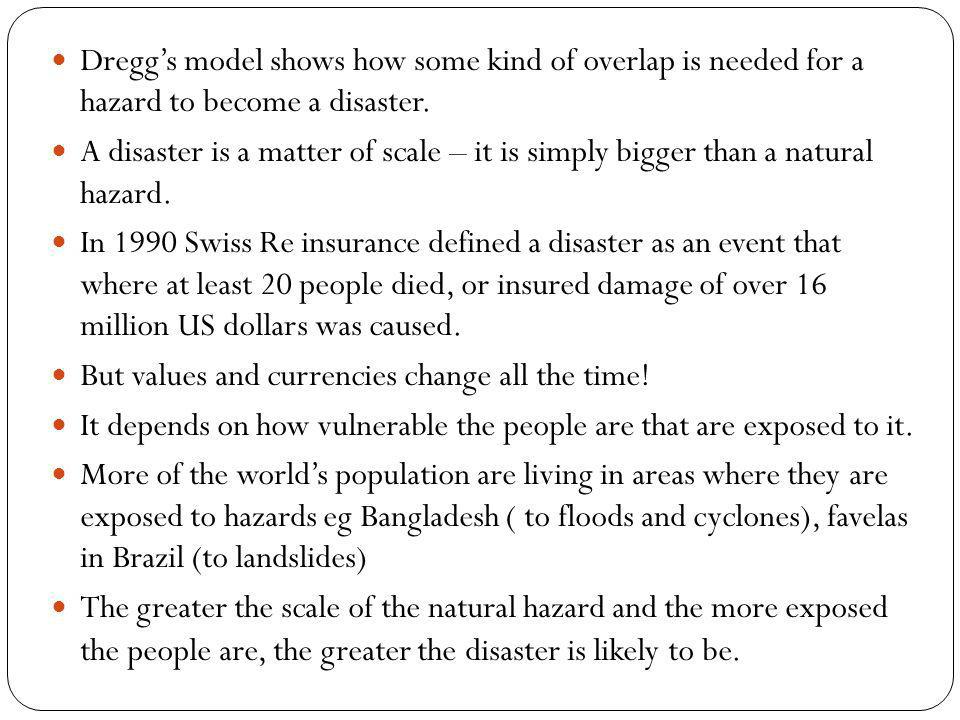 Dregg's model shows how some kind of overlap is needed for a hazard to become a disaster.