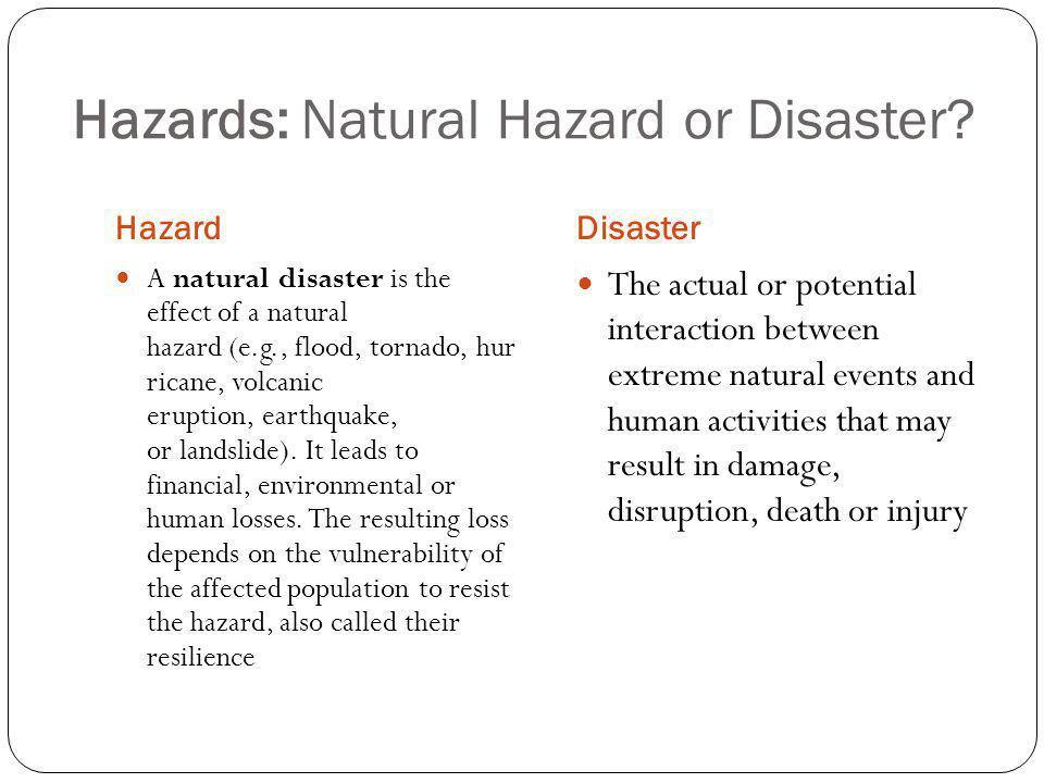 Hazards: Natural Hazard or Disaster