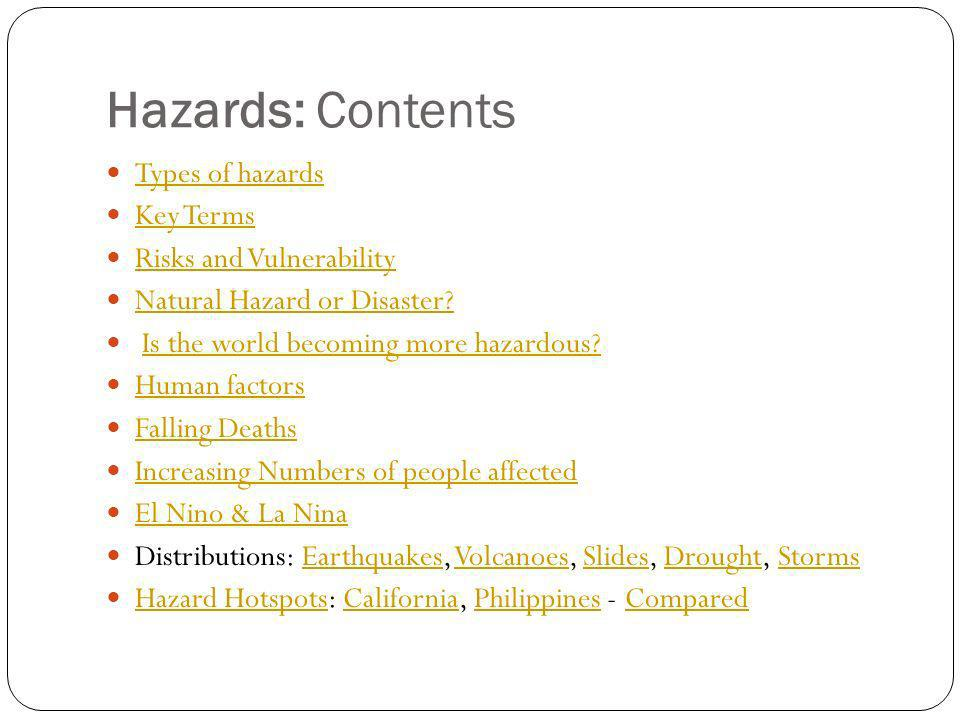Hazards: Contents Types of hazards Key Terms Risks and Vulnerability