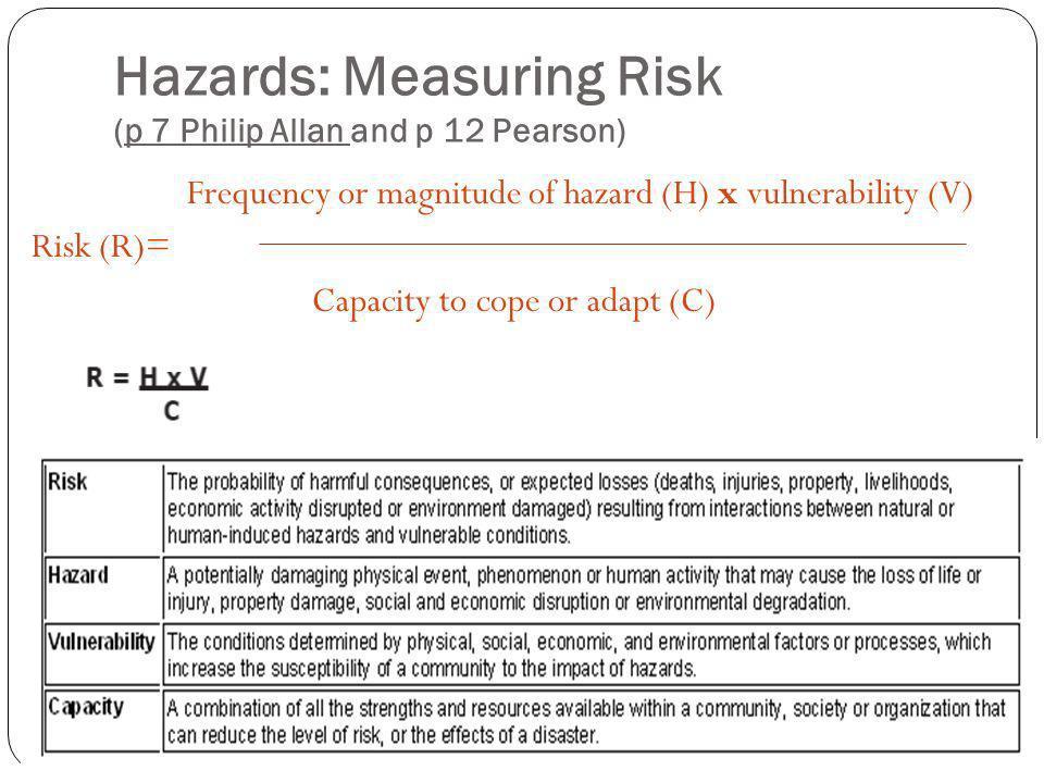 Hazards: Measuring Risk (p 7 Philip Allan and p 12 Pearson)