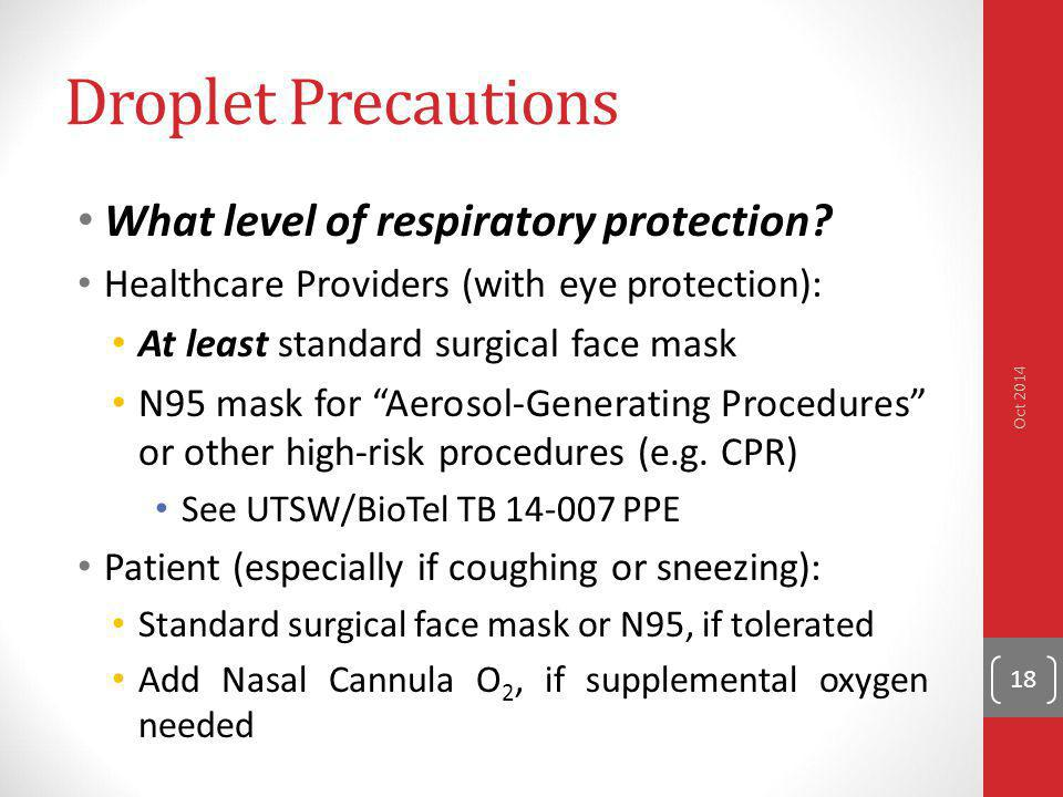 Droplet Precautions What level of respiratory protection