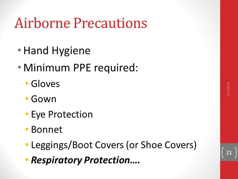 Airborne Precautions Hand Hygiene Minimum PPE required: Gloves Gown