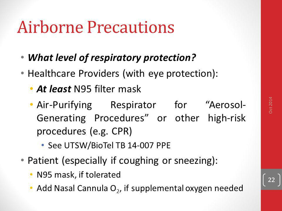 Airborne Precautions What level of respiratory protection