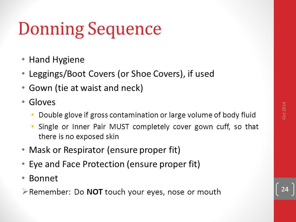 Donning Sequence Hand Hygiene