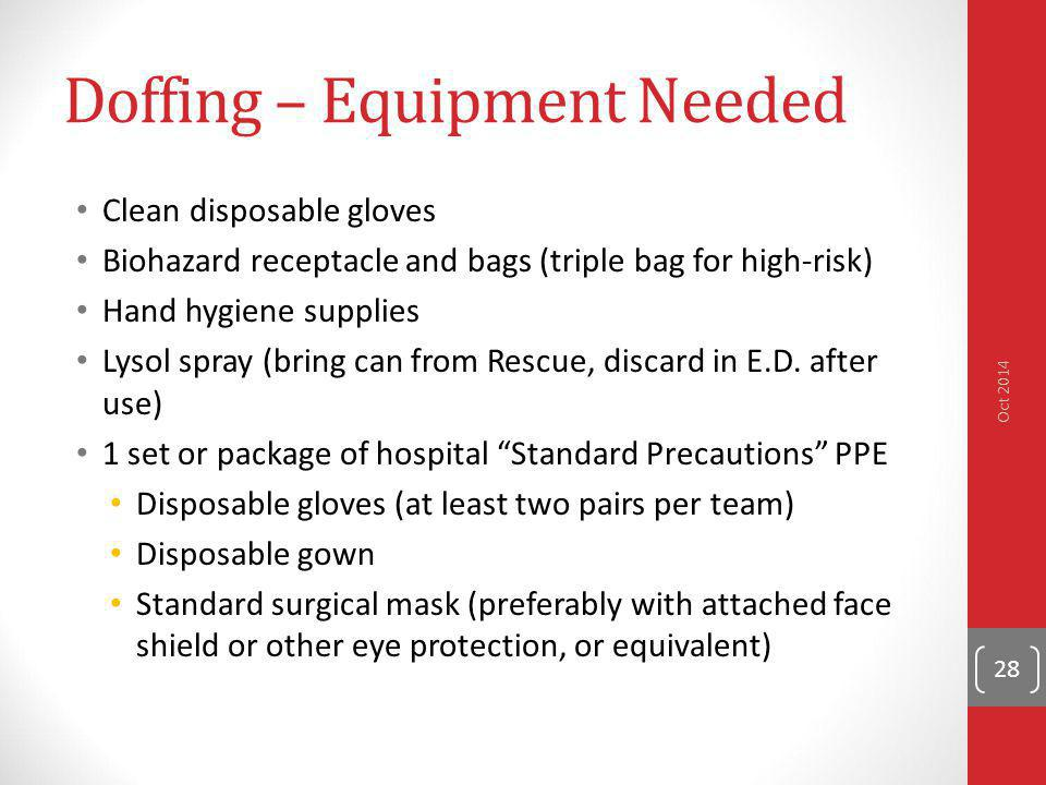 Doffing – Equipment Needed