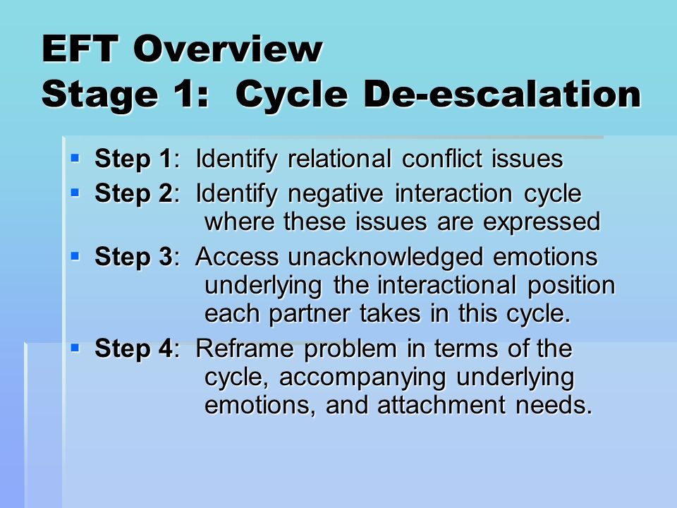 EFT Overview Stage 1: Cycle De-escalation