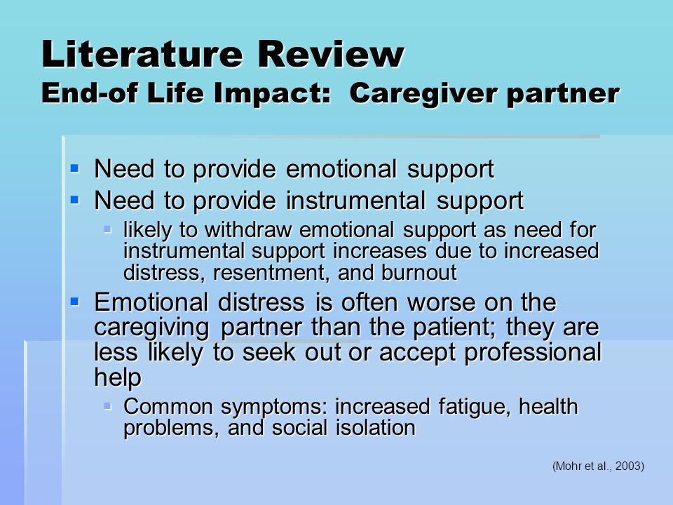 Literature Review End-of Life Impact: Caregiver partner