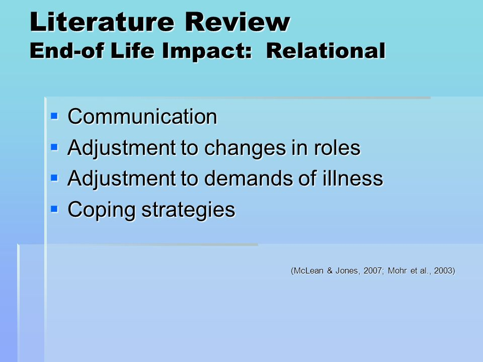 Literature Review End-of Life Impact: Relational