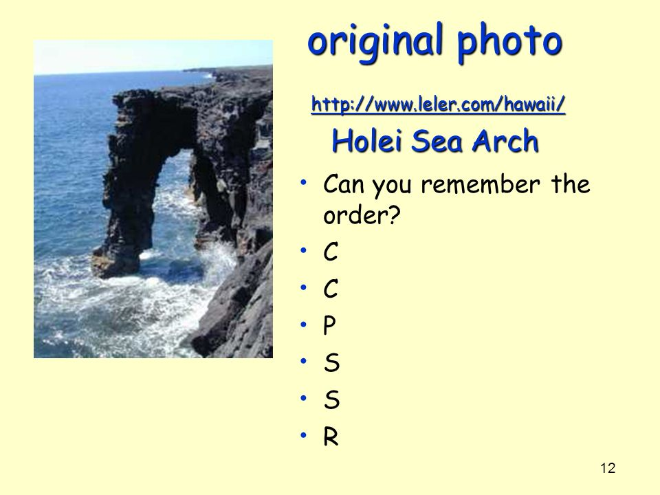 original photo http://www.leler.com/hawaii/ Holei Sea Arch