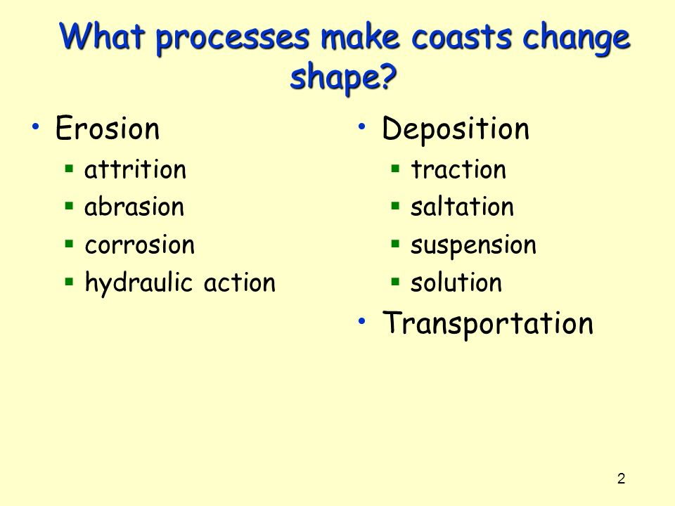 What processes make coasts change shape