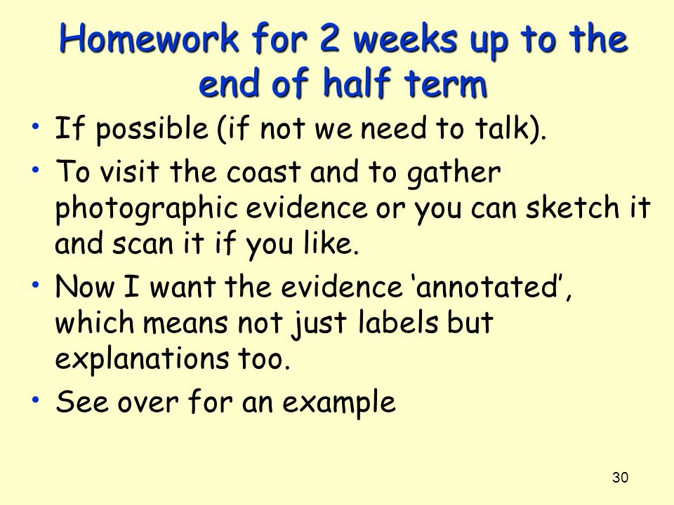 Homework for 2 weeks up to the end of half term