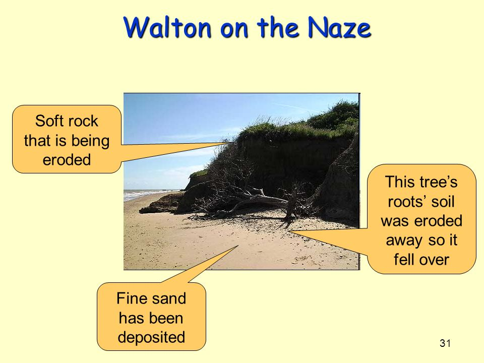 Walton on the Naze Soft rock that is being eroded