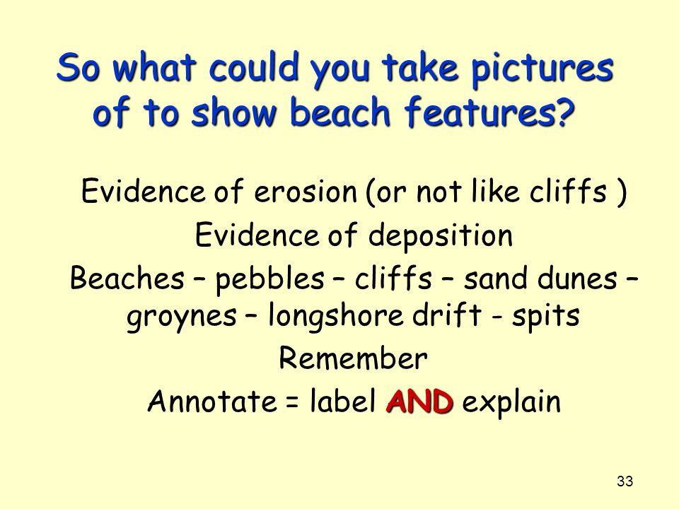 So what could you take pictures of to show beach features
