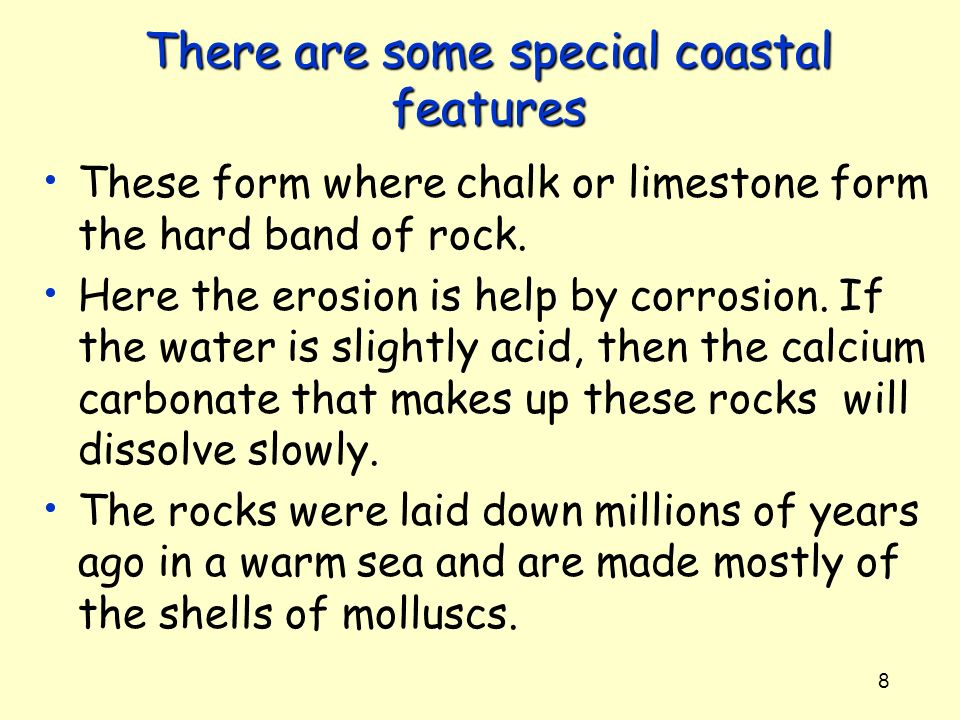 There are some special coastal features