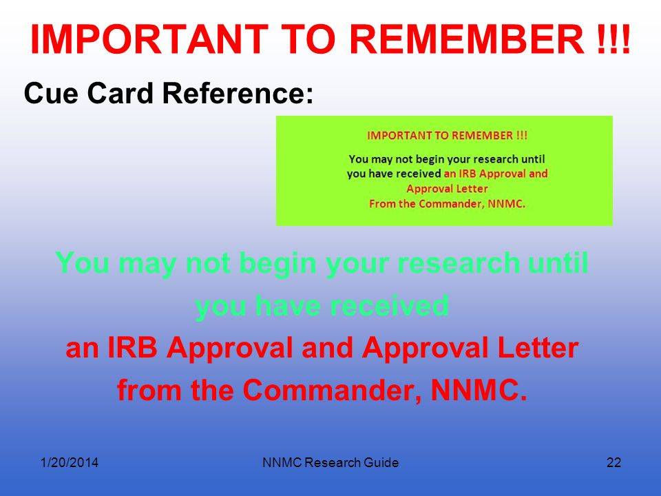 IMPORTANT TO REMEMBER !!! Cue Card Reference: