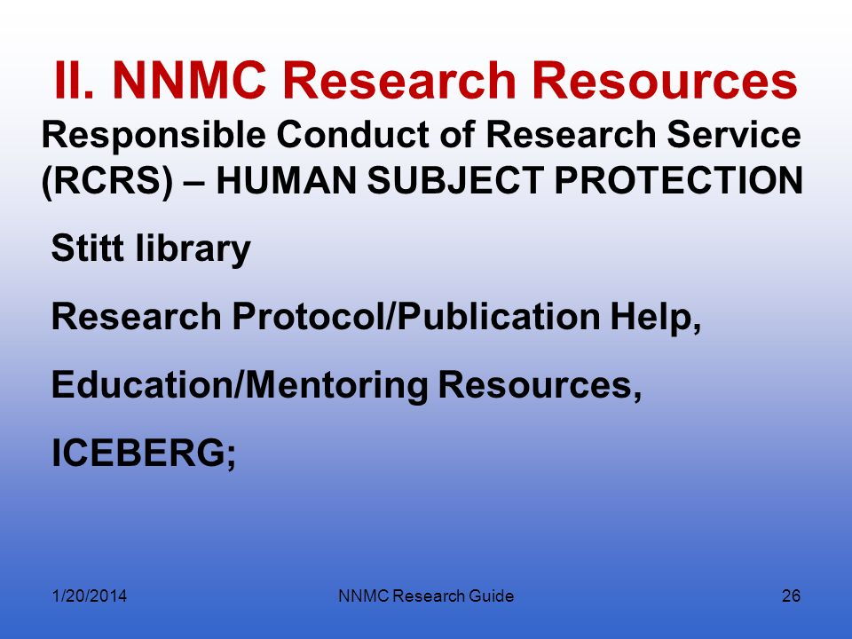 II. NNMC Research Resources