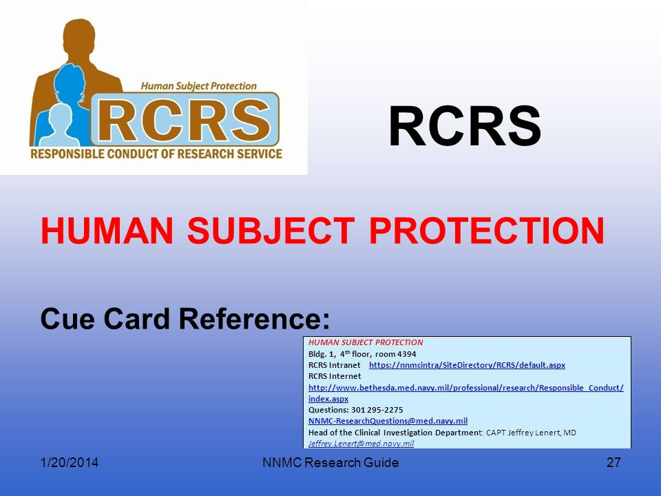HUMAN SUBJECT PROTECTION Cue Card Reference: