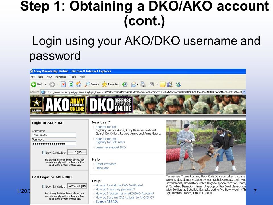 Step 1: Obtaining a DKO/AKO account (cont.)