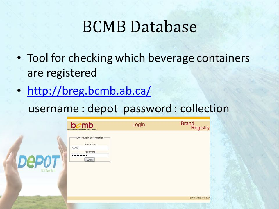 BCMB Database Tool for checking which beverage containers are registered.