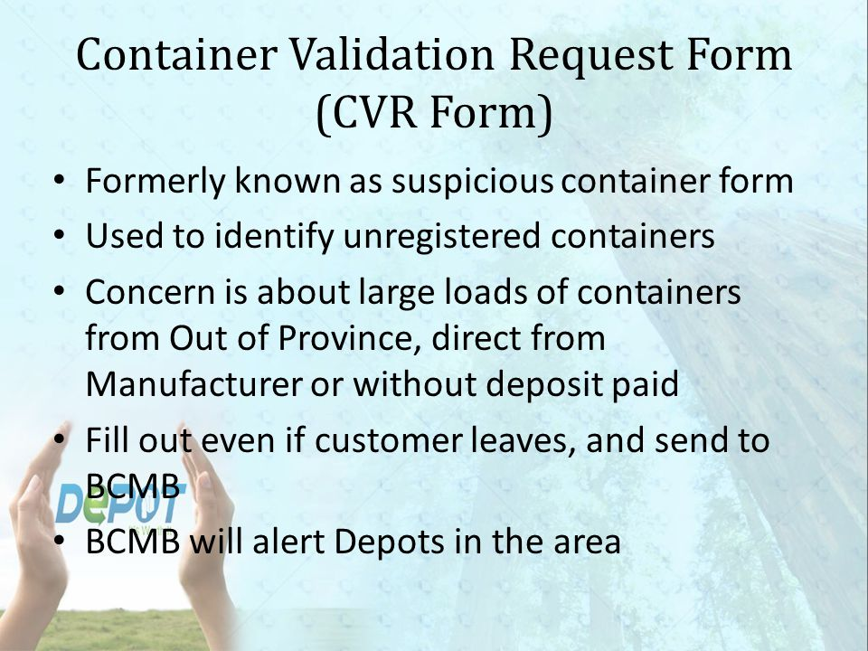 Container Validation Request Form (CVR Form)