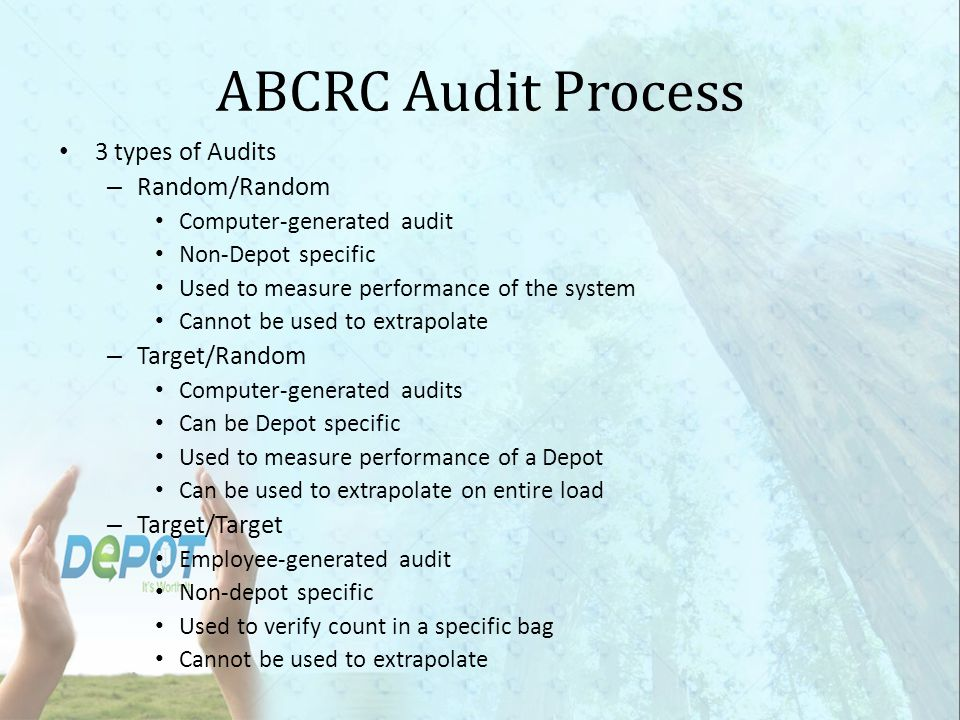 ABCRC Audit Process 3 types of Audits Random/Random Target/Random