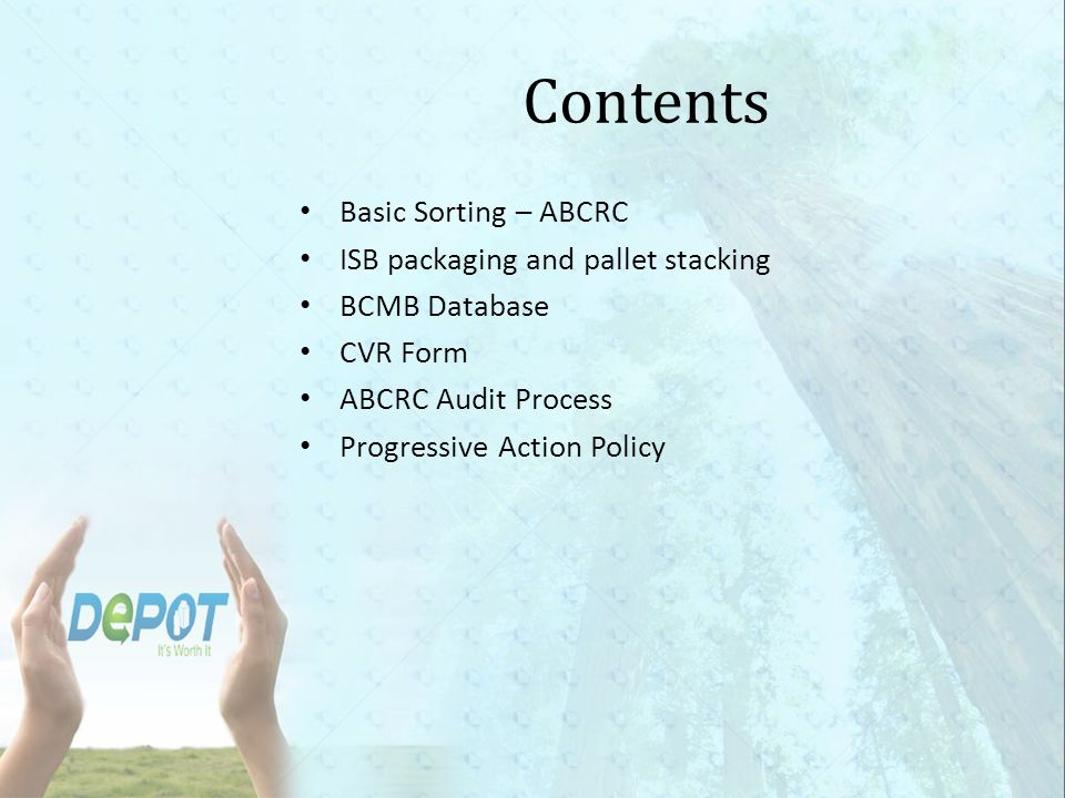 Contents Basic Sorting – ABCRC ISB packaging and pallet stacking
