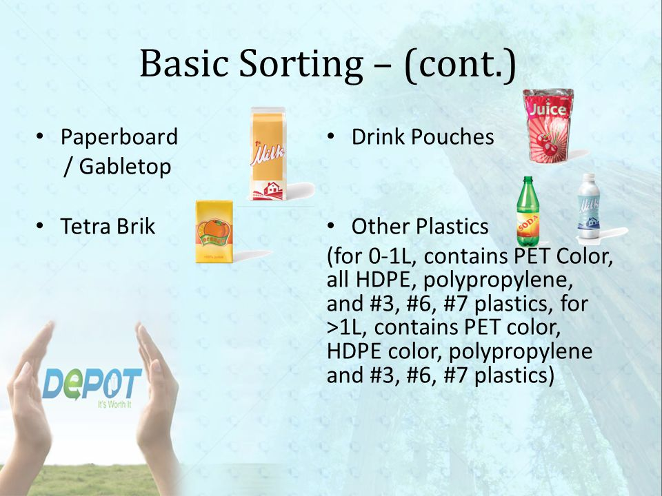 Basic Sorting – (cont.) Paperboard Drink Pouches / Gabletop Tetra Brik