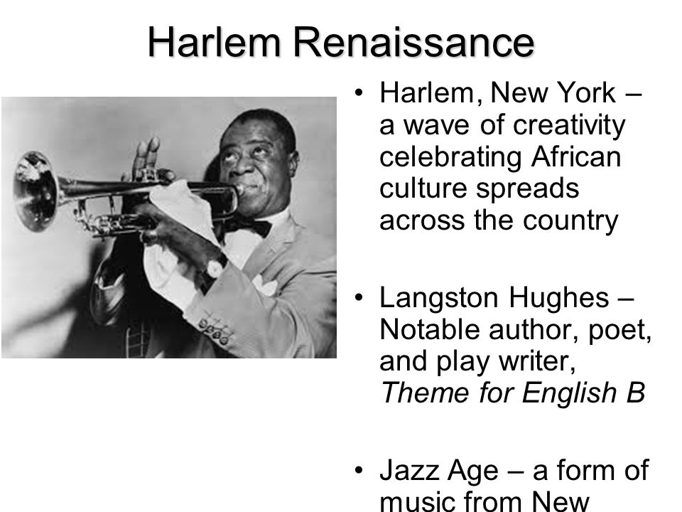 Harlem Renaissance Harlem, New York – a wave of creativity celebrating African culture spreads across the country.