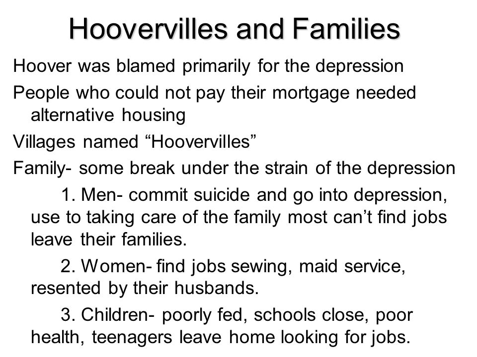 Hoovervilles and Families
