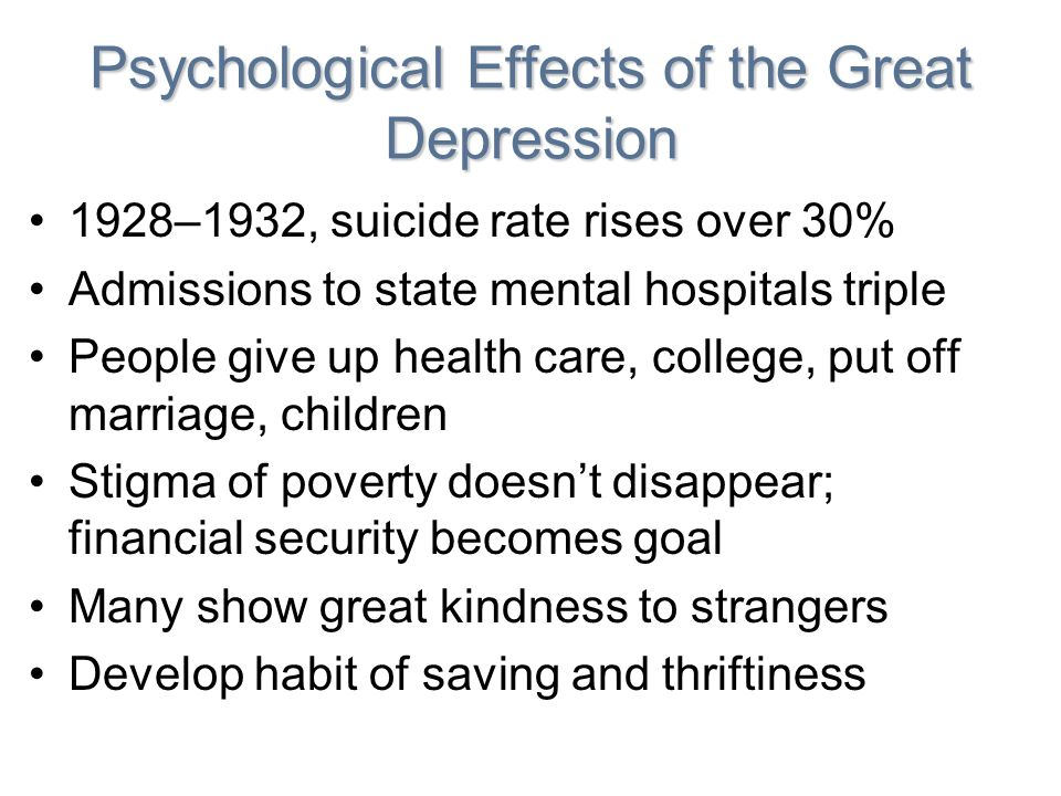 Psychological Effects of the Great Depression