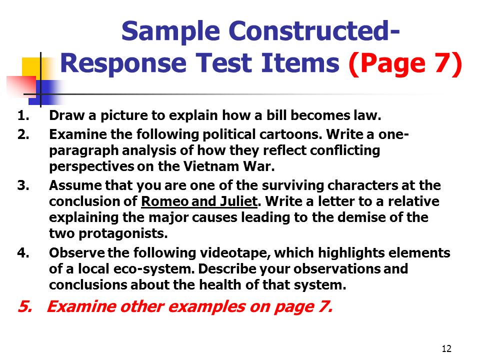 Sample Constructed- Response Test Items (Page 7)