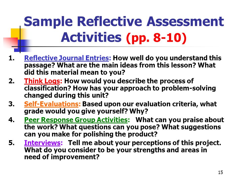 Sample Reflective Assessment Activities (pp. 8-10)