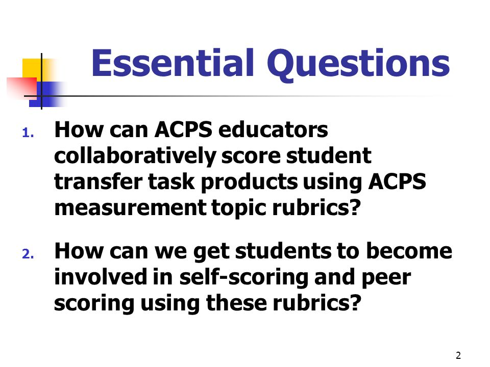 Essential Questions How can ACPS educators collaboratively score student transfer task products using ACPS measurement topic rubrics
