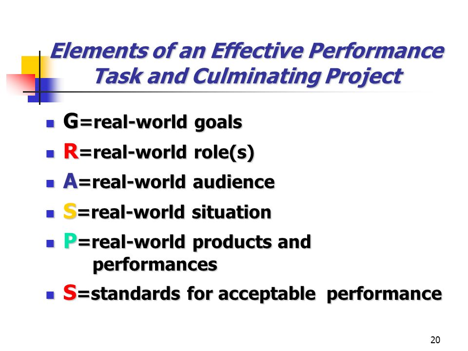 Elements of an Effective Performance Task and Culminating Project