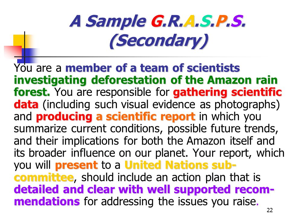 A Sample G.R.A.S.P.S. (Secondary)