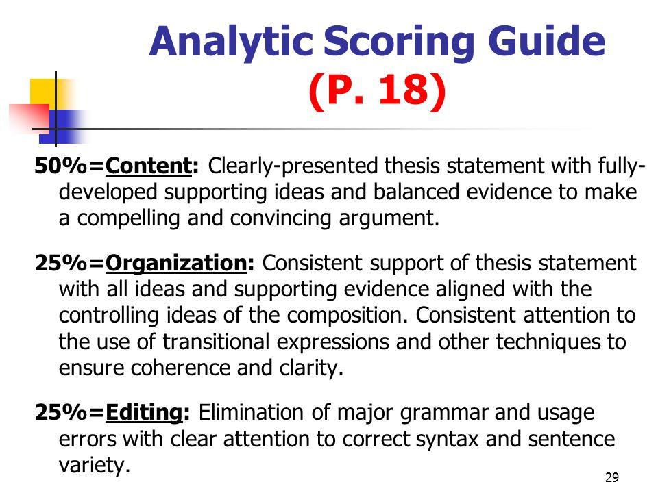 Analytic Scoring Guide (P. 18)