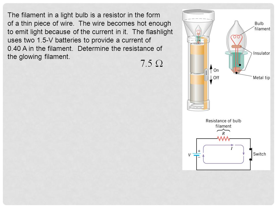 The filament in a light bulb is a resistor in the form