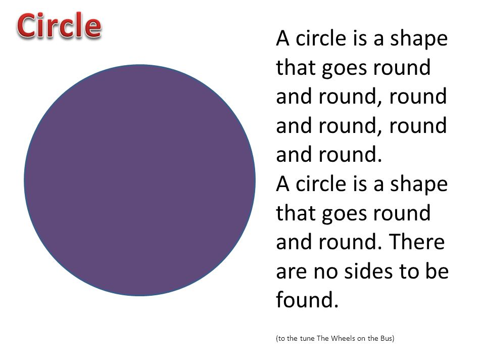 Circle A circle is a shape that goes round and round, round and round, round and round.