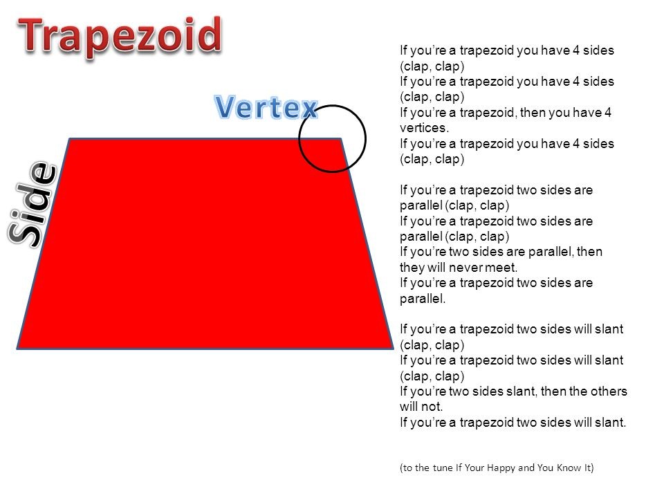Trapezoid If you're a trapezoid you have 4 sides (clap, clap) If you're a trapezoid, then you have 4 vertices.