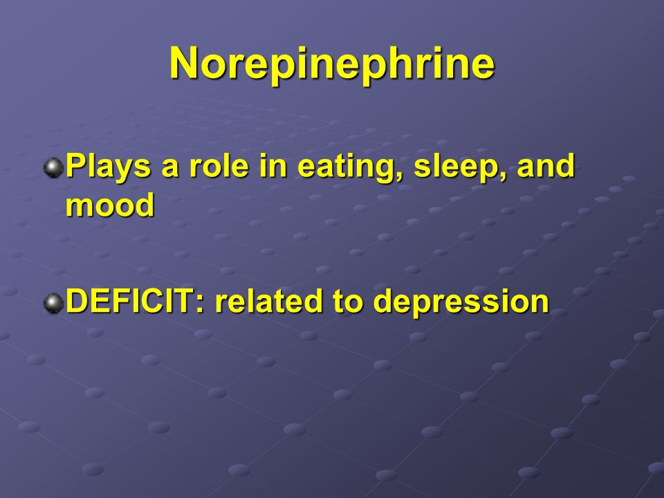 Norepinephrine Plays a role in eating, sleep, and mood