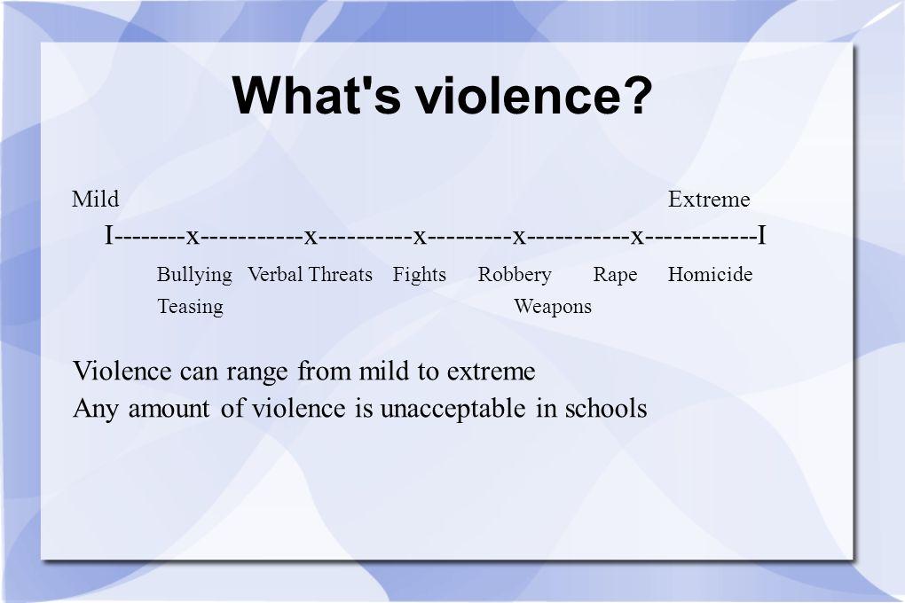 What s violence Mild Extreme. I--------x-----------x----------x---------x-----------x------------I.