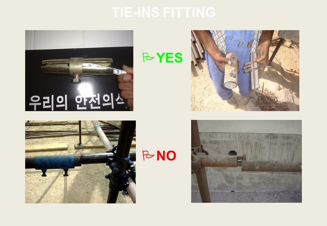 TIE-INS FITTING YES NO