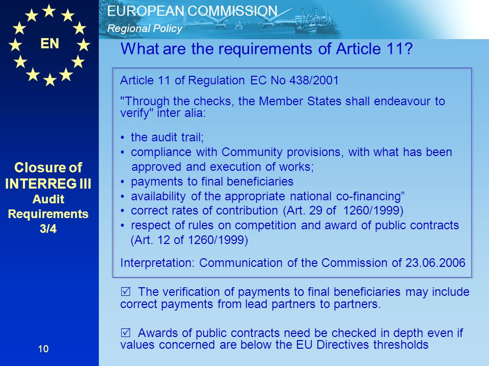 Closure of INTERREG III Audit Requirements 3/4