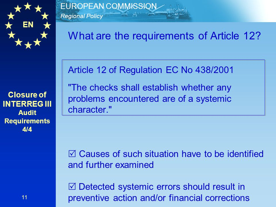 Closure of INTERREG III Audit Requirements 4/4