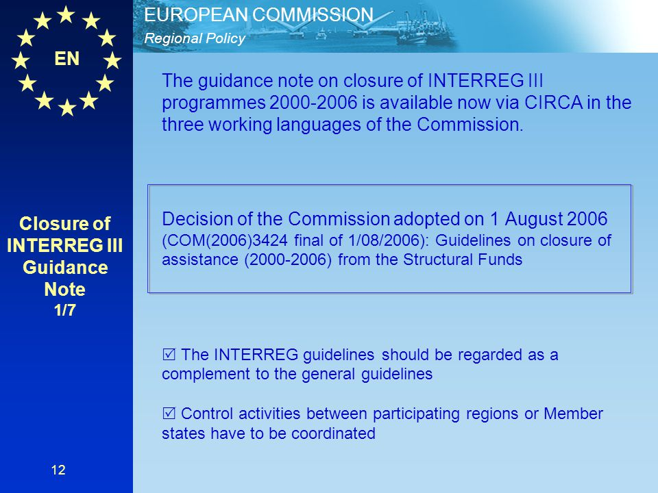 Closure of INTERREG III Guidance Note 1/7