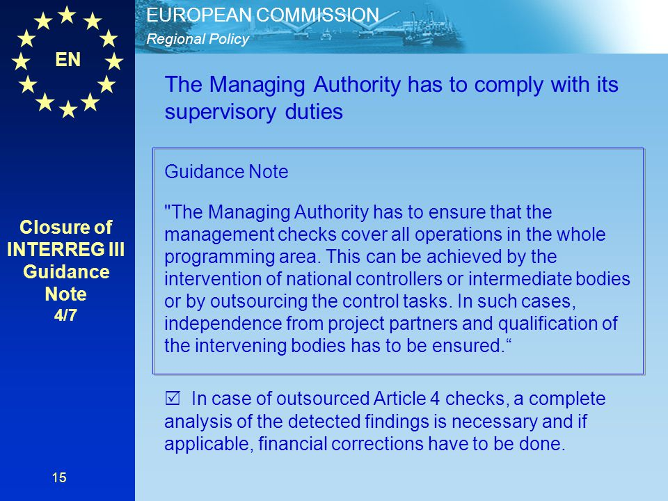 Closure of INTERREG III Guidance Note 4/7